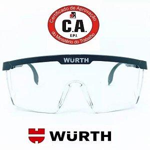 ÓCULOS DE PROTEÇÃO WURTH COM C.A 34082 EPI RJ - Transparente