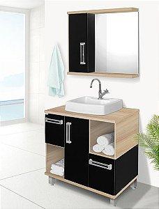 Conjunto Banheiro Ibiza Carvalho c/ Preto 80cm - Fabribam