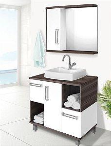 Conjunto Banheiro Ibiza Amêndoa c/ Branco 80cm - Fabribam
