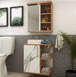 Balcão para Banheiro 60cm com Espelheira e Cuba - Suspenso ou com Pés Ref 860 Cewal