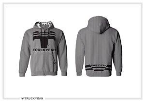 Jaqueta Moleton Ziper Capuz Truckyeah Estampada Ash Grey (Masculino)