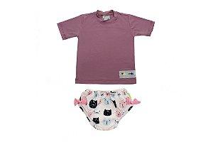 Camisa UV + Biquíni Fralda - Gatinhos