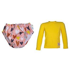 Camisa UV + Biquíni Fralda - Corações Poá