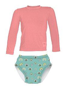 Camisa UV + Biquíni Fralda - Arco-íris