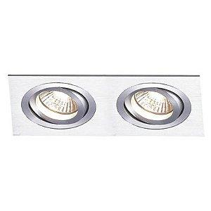 Spot Duplo Embutir Direcionavel 2x Par30 - Aluminio Escovado NS5302A