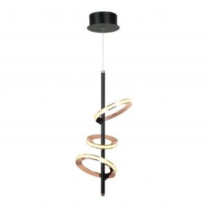 Pendente Bella BB012 Ginga LED 16,5W 3000k Ø23,5x52cm Cobre/Preto