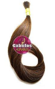 Cabelo Humano Liso Descolorido Chocolate 60 65 cm 50 grs