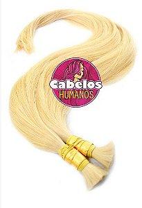 Cabelo Humano Premium Liso Loiro Pastel 60 65 cm 50 grs