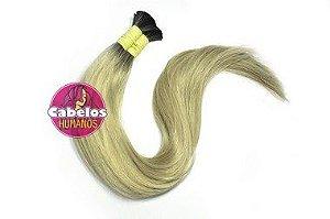 Cabelo Humano Premium Liso Ombré Hair Preto / Platinado 70 75 cm 50grs