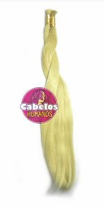Cabelo Humano Premium Liso Loiro Claro 40 45 cm 50 grs