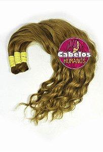 Cabelo Humano Descolorido Ondulado Dourado Escuro 70 75 cm 50grs