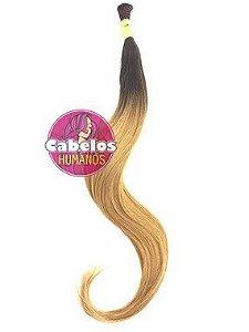 Cabelo Humano Premium Ombré Hair Preto / Loiro Dourado Claro 70 75 cm 50 grs