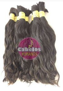 Cabelo Humano Liso Leves Ondas 60 65 cm 50 grs