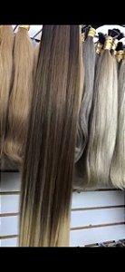 Cabelo Humano Premium Liso Ombré Hair Chocolate / Loiro Claro 60 65 cm 50grs