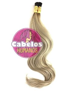 Cabelo Humano Premium Levemente Ondulado Ombré Hair Preto / Platinado Mesclado 60 65 cm 50grs