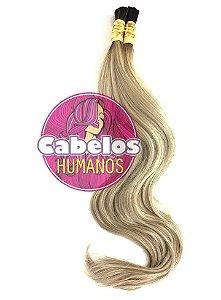 Cabelo Humano Premium Levemente Ondulado Ombré Hair Preto / Platinado Mesclado 50 55 cm 50grs
