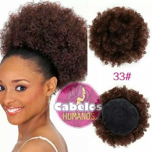 Cacheados  Aplique Afro Puff De Cabelos Humanos Chocolate