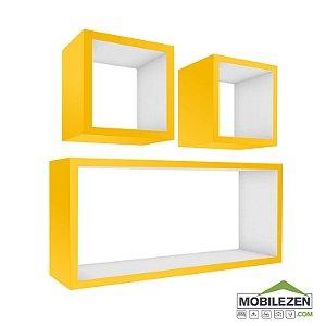 Nicho Decorativo Amarelo E Branco para Quarto, Cozinha, modelo Retangular Decorativo em Mdf - 03 Peças