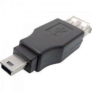 Adaptador USB A Fêmea x Mini USB Macho ADAP0022 Preto STORM