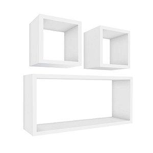 Nicho decorativos mobilezen  para quarto, sala Branco Real em MDF - conjunto - 03 Peças