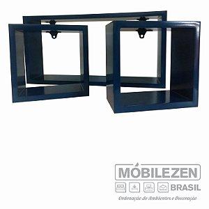 Nicho decorativos  Azul marinho em MDF Móbilezen -  03 Peças