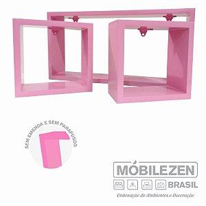 Nicho decorativo Rosa bebê quarto menina In colors em MDF  - 03 Peças