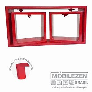 Nicho decorativo vermelho cardeal em MDF  Móbilezen - 03 Peças