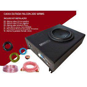 Caixa Slim Amplificada Xs200 Falcon 200wrms + Kit Instalação