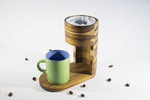 Cafeteira Pingado - Classe e Elegância à mesa - Coador de Café passado em Madeira Nobre TECA sem Xícara