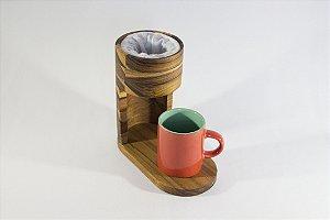 Cafeteira Pingado - Classe e Elegância à mesa - Coador de Café passado em Madeira Nobre TECA com Xícara