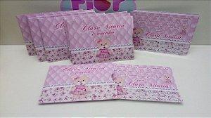 Convite com Envelope Personalizado Ursinha Princesa