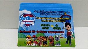 Convite Patrulha canina 10x7 (Com envelope)