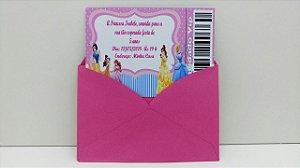 Convite Tema Princesas 10x7 (Com envelope)