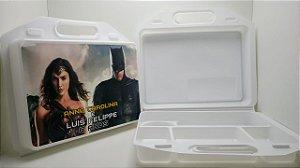 10 Kit Maleta escolar Personalizada Batman e Mulher maravilha