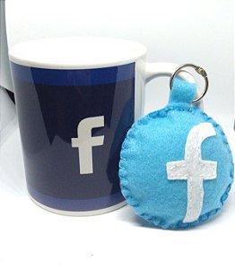 Caneca Facebook + Chaveiro de feltro