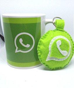 Caneca Whatsapp + Chaveiro de feltro