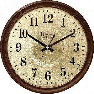 Relógio de Parede Herweg Analógico Marrom e Dourado 6468-084