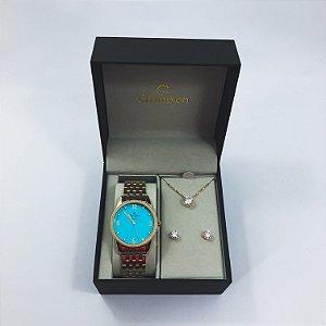Relógio Feminino Champion com Colar e Brincos Mod: CN26082Y