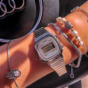 Relógio Feminino Casio Vintage Prata Digital Mod: LA670WA7DF