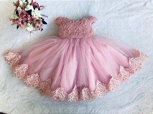 Vestido de Perolas Rosa para festas de um Aninho - Infantil