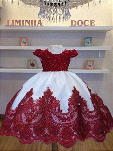 Vestido de Daminhas Bordado em Perolas Marsala - Infantil