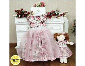 Vestido de Festa Floral Rose - Menina Boneca