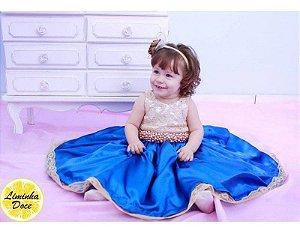 Vestido de Daminha Dourado e Azul - Infantil