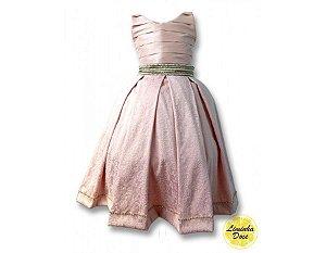 Vestido Rosa e Dourado Social - Infantil