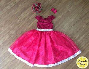 Vestido Social de Alta Costura Rosa - Infantil