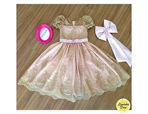Vestido de Daminha de Luxo Dourado e Rosa - Infantil