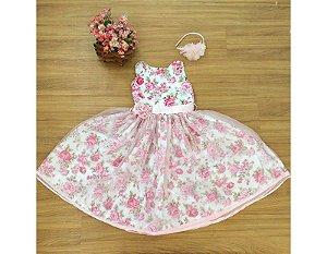 Vestido de Daminha com Floral Rosa - Infantil