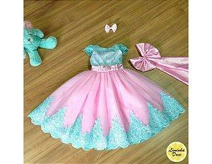 Vestido para Daminha Verde e Rosa - Infantil