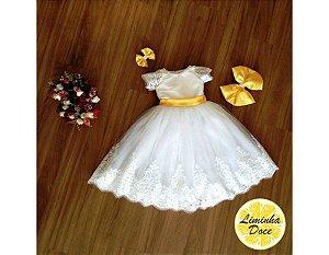 Vestido de Daminha Branco com Faixa Amarela - Infantil