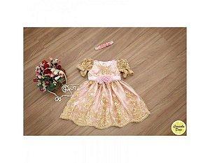 Vestido de Festa Organza Rosa e Dourado - Infantil